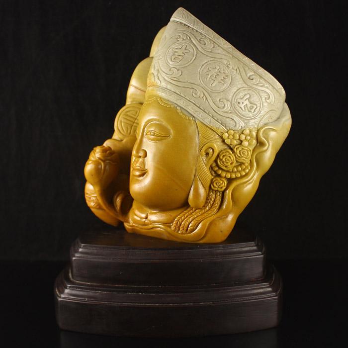 Chinese Shoushan Stone Tara Statue