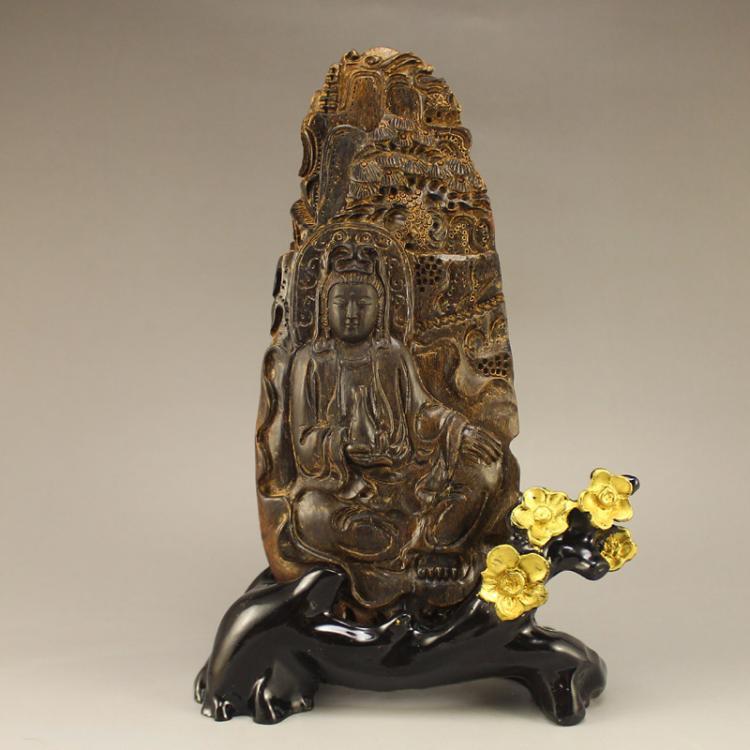 Vintage Chinese Chen Xiang Wood Kwan-yin Statue
