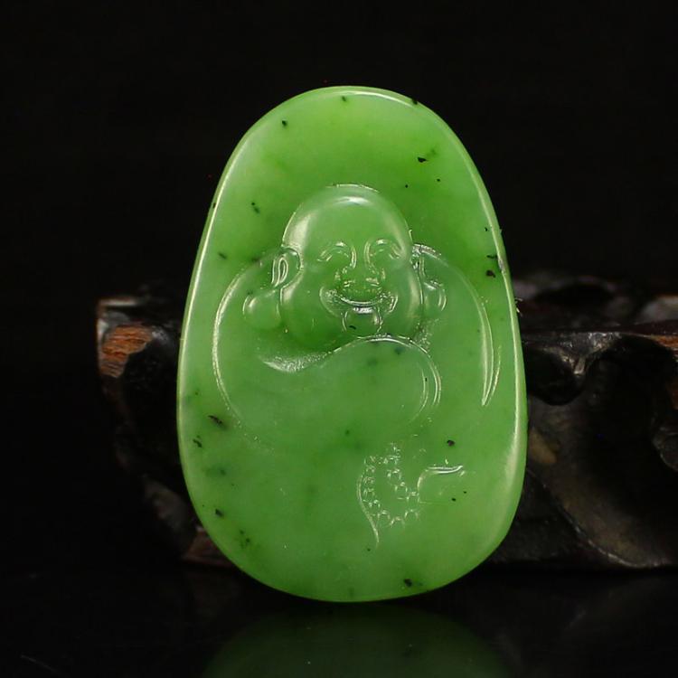 Chinese Green Hetian Jade Laughing Buddha Pendant