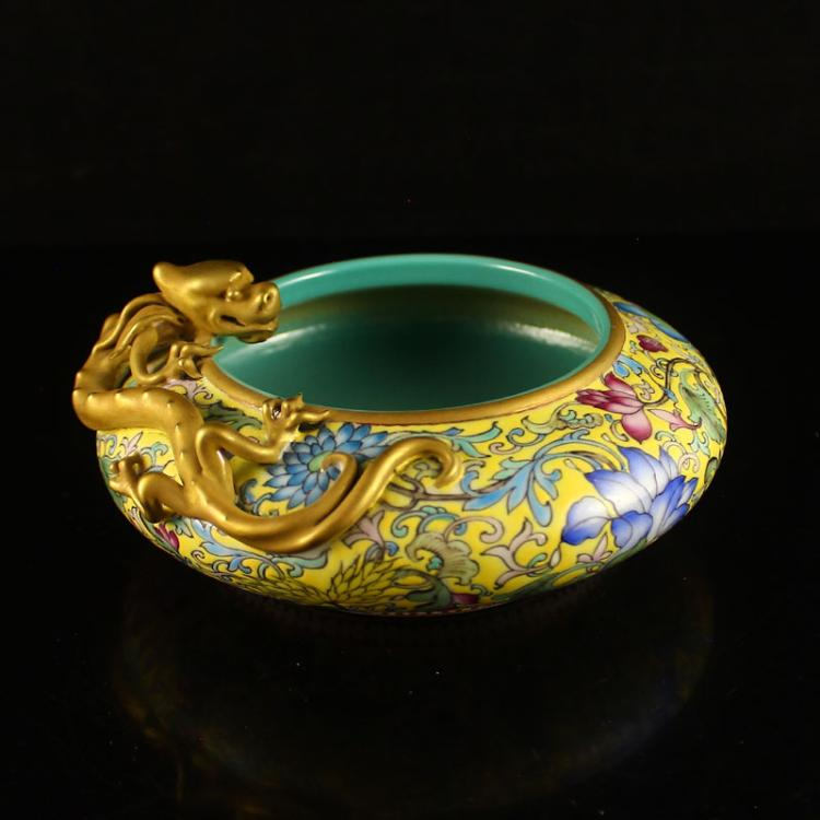 Chinese Gilt Gold Yellow Ground Famille Rose Relief Porcelain Chi Dragon Brush Washer w Qian Long Mark