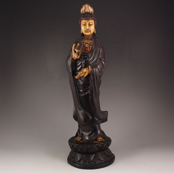 Chinese Qing Dynasty Zitan Wood Inlay Bone Kwan-yin Statue