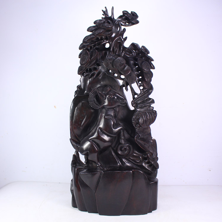 Chinese Black Sanders Wood Statue - Sheep Bat & Pine Tree