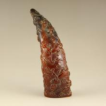 Vintage Chinese Ox Horn Statue
