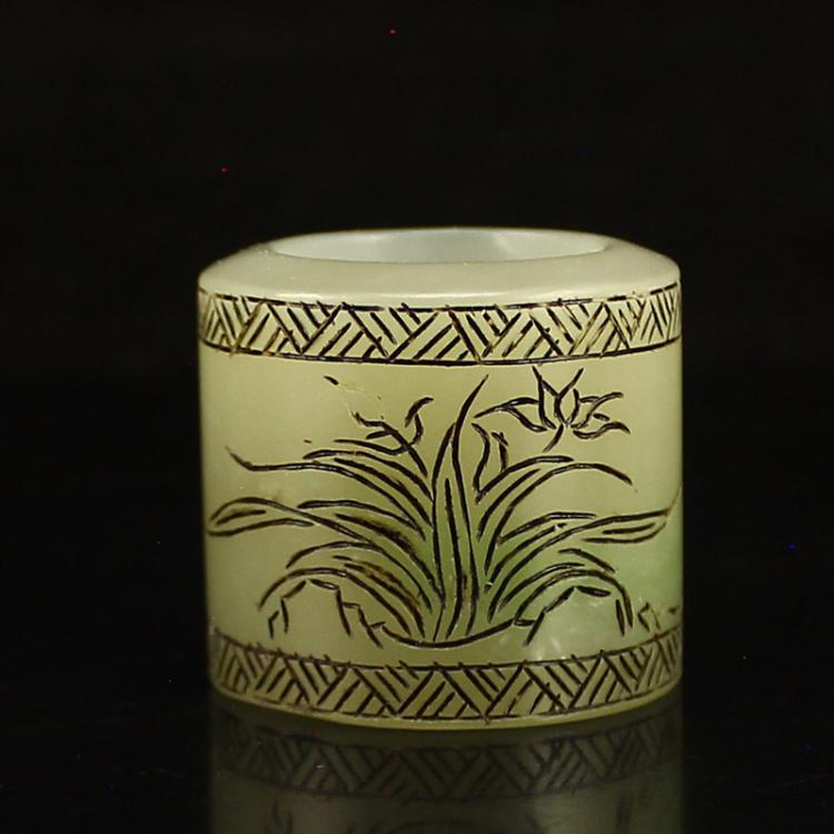 Vintage Chinese Hetian Jade Thumb Ring