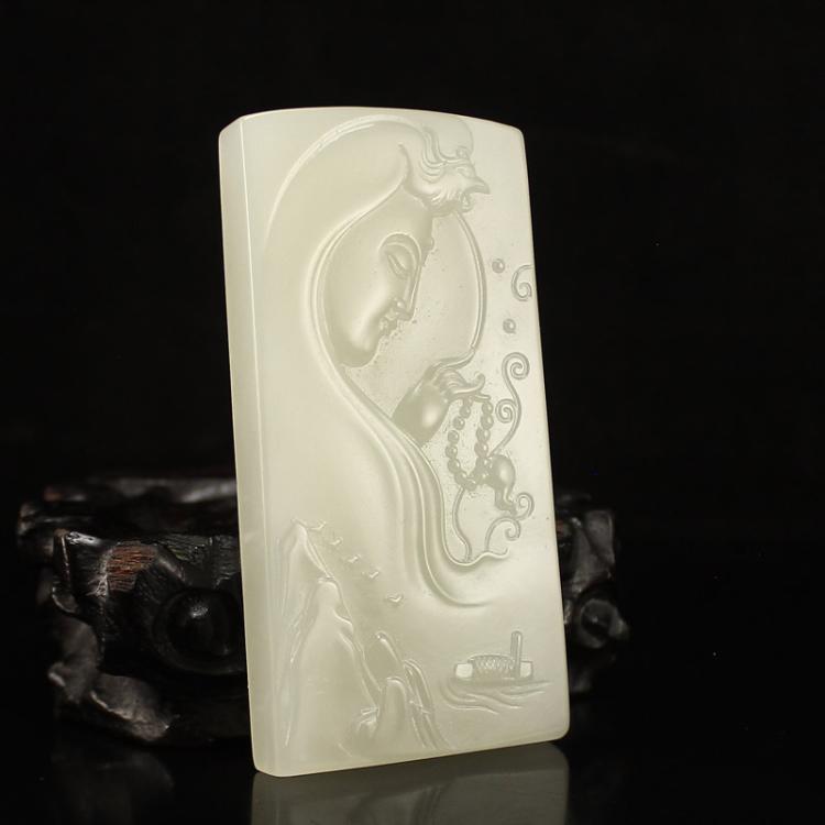 Chinese Hetian Jade Kwan-yin Pendant