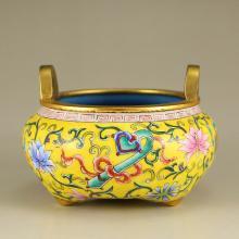 Chinese Qing Dynasty Gilt Gold Bronze Enamels Incense Burner