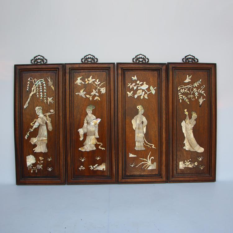 A Set Chinese Zitan Wood Inlay Shells Walls Painting