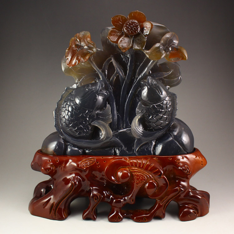 Chinese Agate Statue - Fish & Lotus Flower