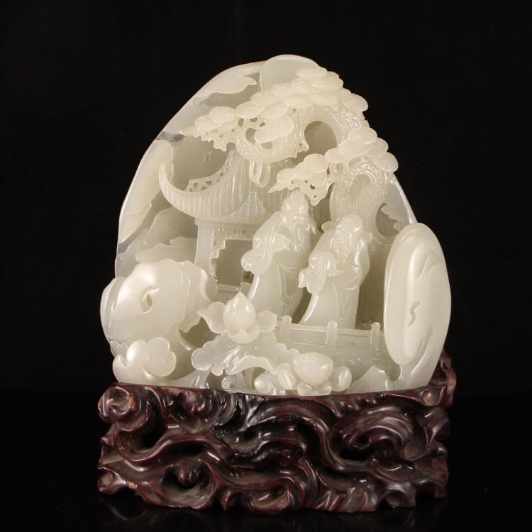 Superb Chinese Hetian Jade Statue - Sages & Pine Tree