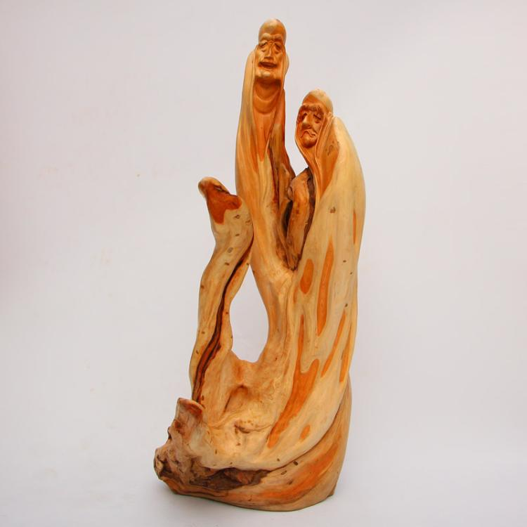 Chinese Thuja Sutchuenensis Wood Arhat Statue