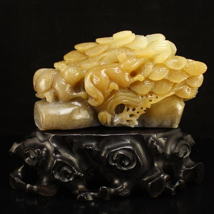 Chinese Hetian Jade Statue - Squirrels &  Pine Tree