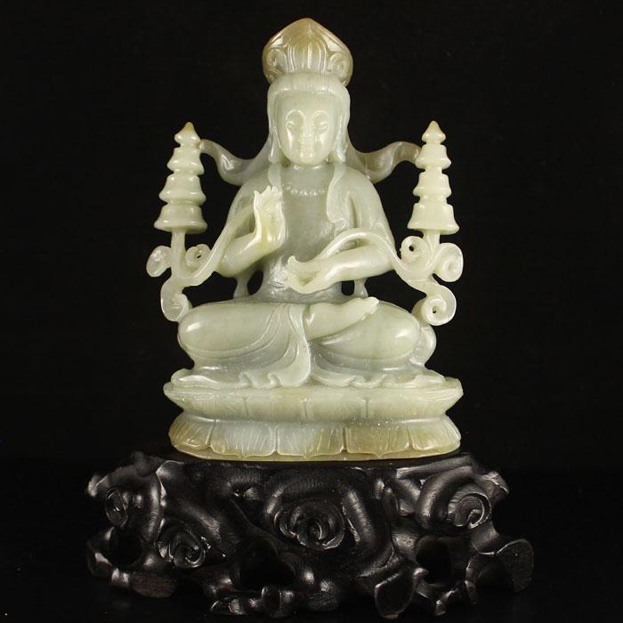 Superb Chinese Hetian Jade Tibet Temples Kwan-yin Statue