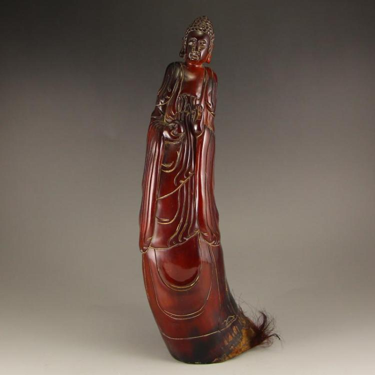 Vintage Chinese Ox Horn Kwan-yin Statue