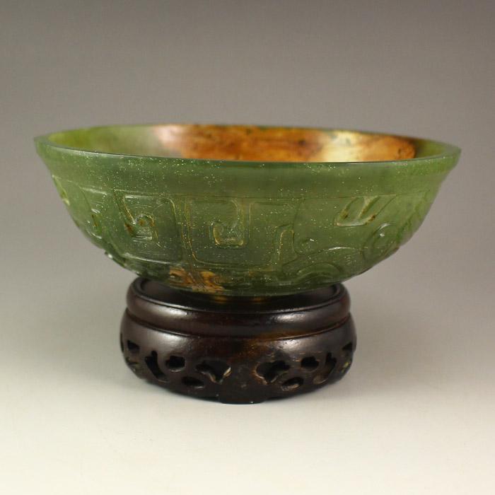 Vintage Chinese Hetian Jade Bowl
