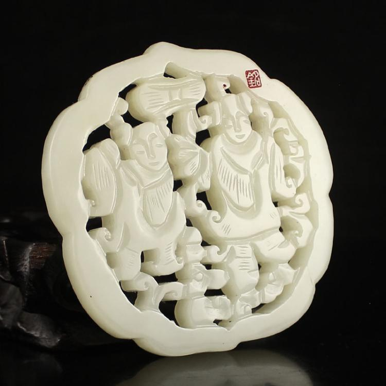 Openwork Chinese Natural Hetian Jade Fortune Kids Pendant