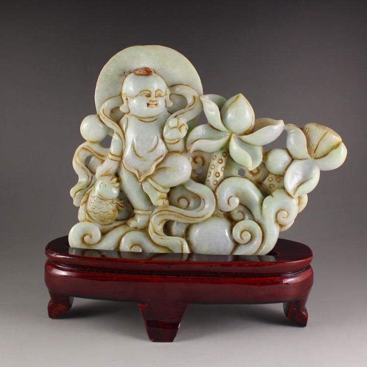 Vintage Jadeite / Jade Statue - Fortune Kid