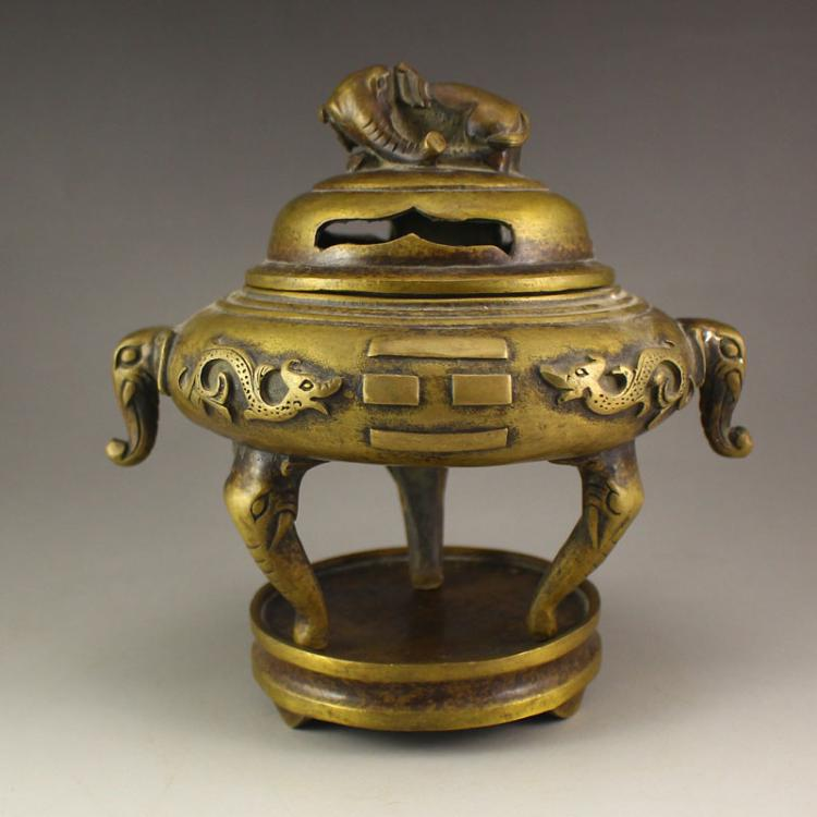 Chinese Bronze Double Ears 3 Legs Incense Burner & Elephant Lid w Xuande Mark