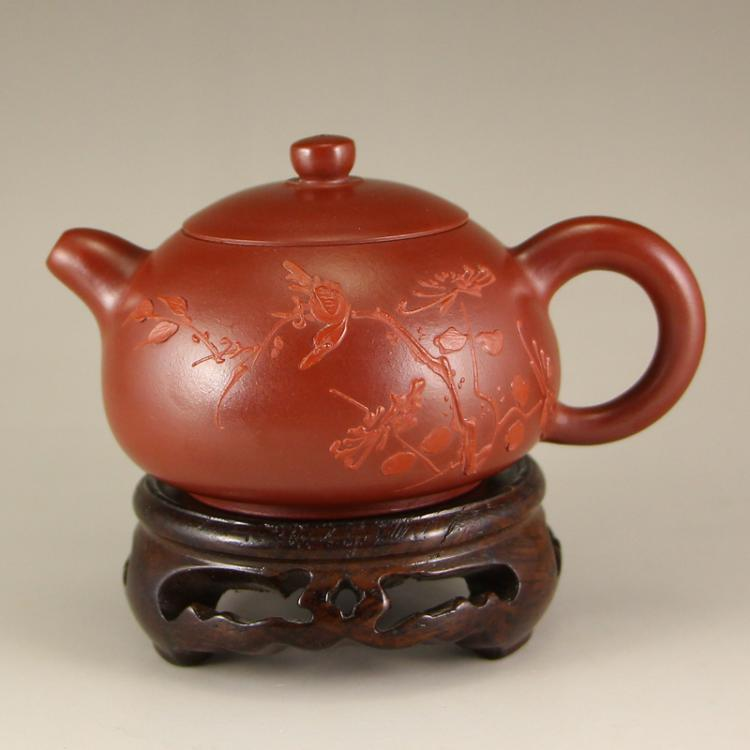 Chinese Zisha Clay Teapot w Artist Signed