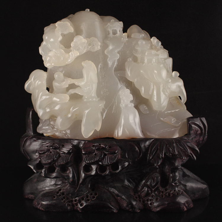 Superb Chinese Natural Agate Statue - Sage , Kid & Pine Tree