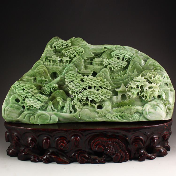 Superb Chinese Dushan Jade Statue - Remote Mountains Sightseeing