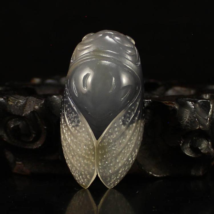 Chinese Natural Agate Cicada Pendant