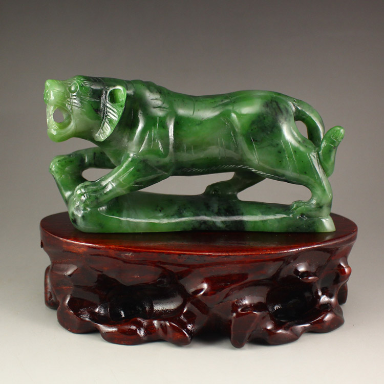 Chinese Green Hetian Jade Statue - Tiger