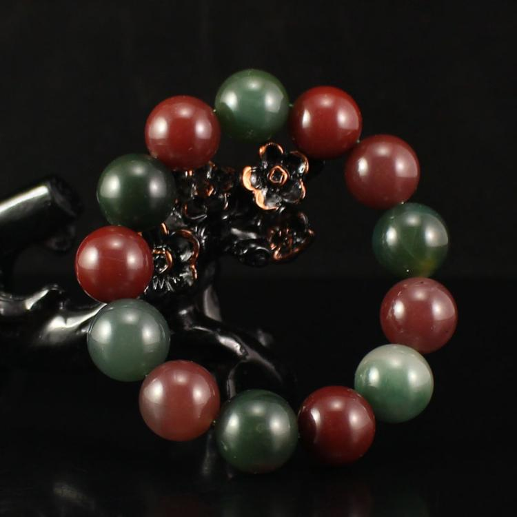 Chinese Purple Green Agate Beads Bracelet