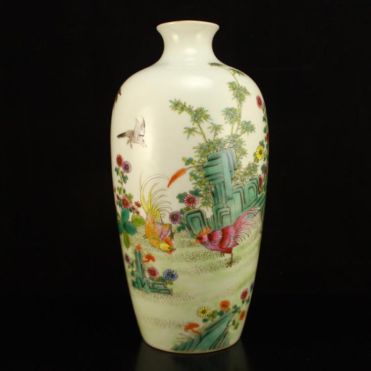 Chinese Gilt Gold Edges Famille Rose Porcelain Vase w Guang Xu Mark