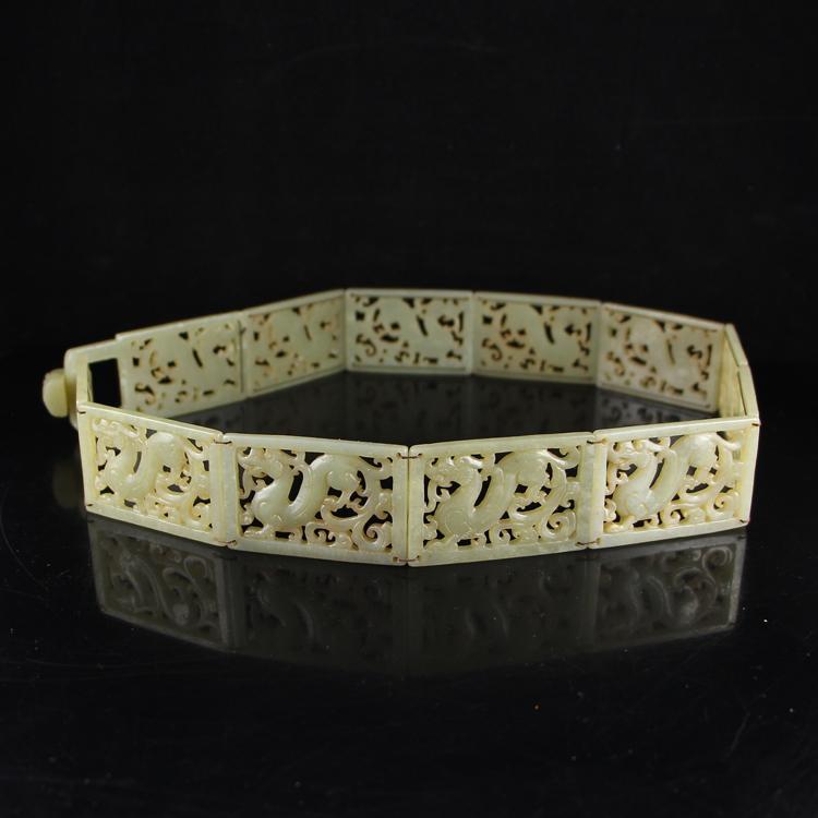 Vintage Openwork Chinese Hetian Jade Belt Buckle