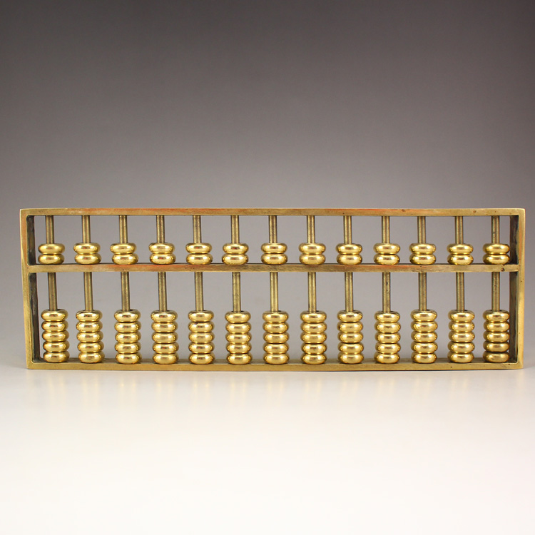 Chinese Tradition Compute Tool Brass Abacus Statue