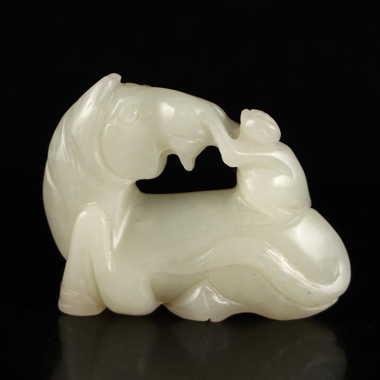 Chinese Hetian Jade Pendant - Horse & Monkey