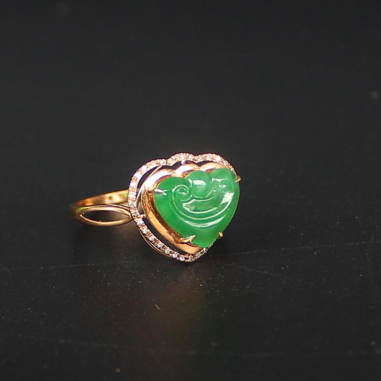 18K Gold Inlay Natural Green Jadeite Diamond Heart Shaped Ruyi Ring w Certificate