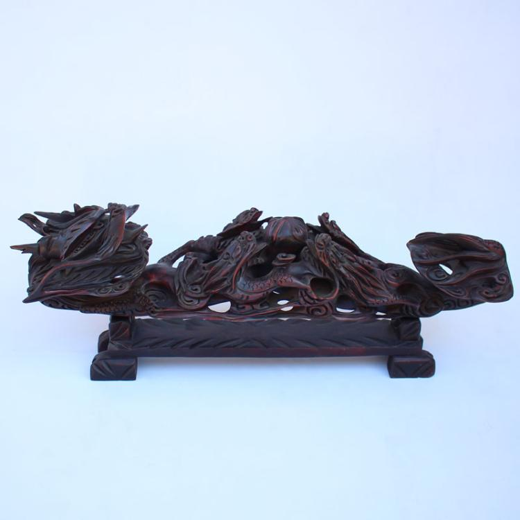 4 Kg Superb Chinese Rosewood Five Dragons Big Ruyi Statue