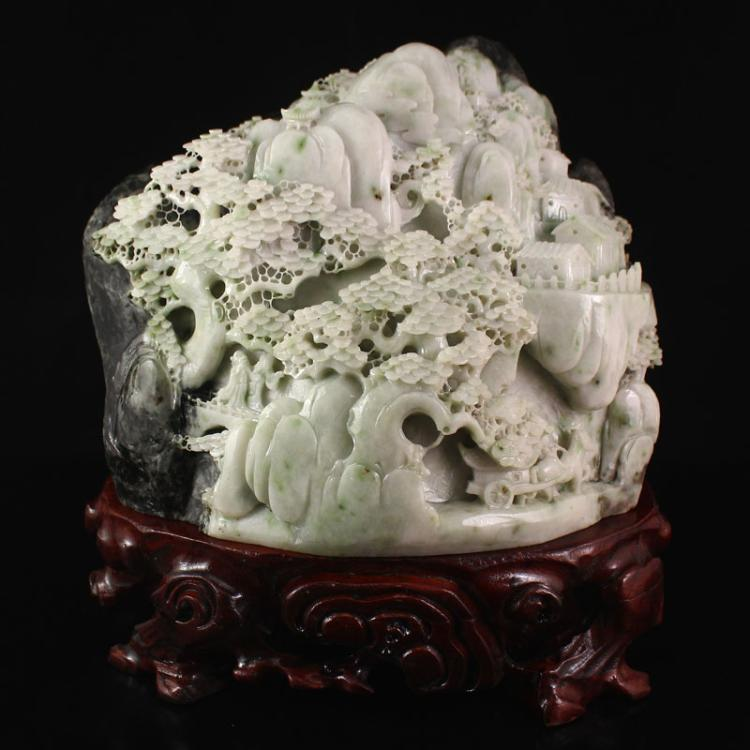 Superb Chinese Dushan Jade Statue - Poets & Pine Tree
