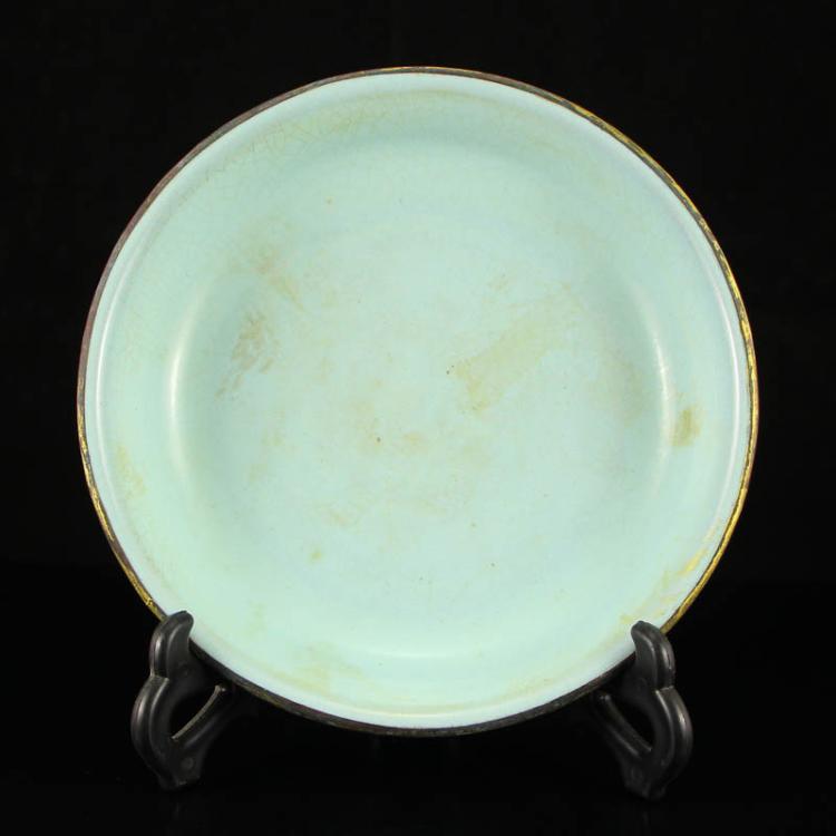 Chinese Sky Blue Glaze Ru Kiln Porcelain Plate