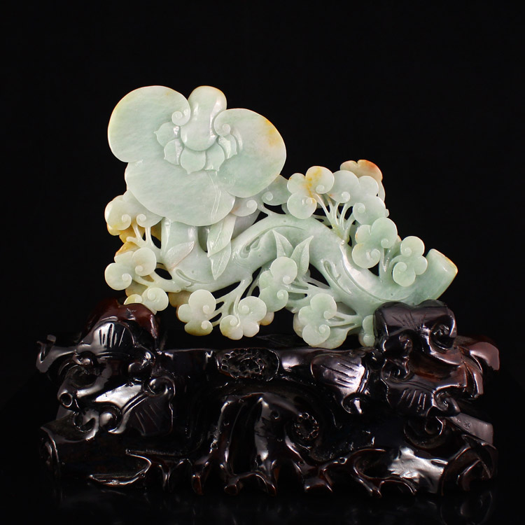 Superb Natural Jadeite/Jade Ruyi Statue