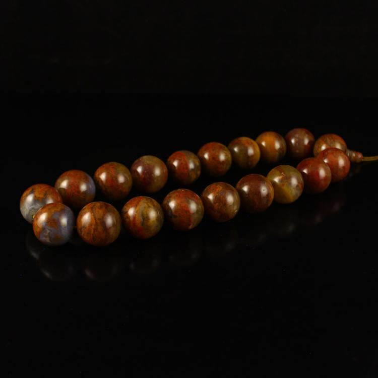 Chinese Zhan Guo Hong Agate Prayer Beads