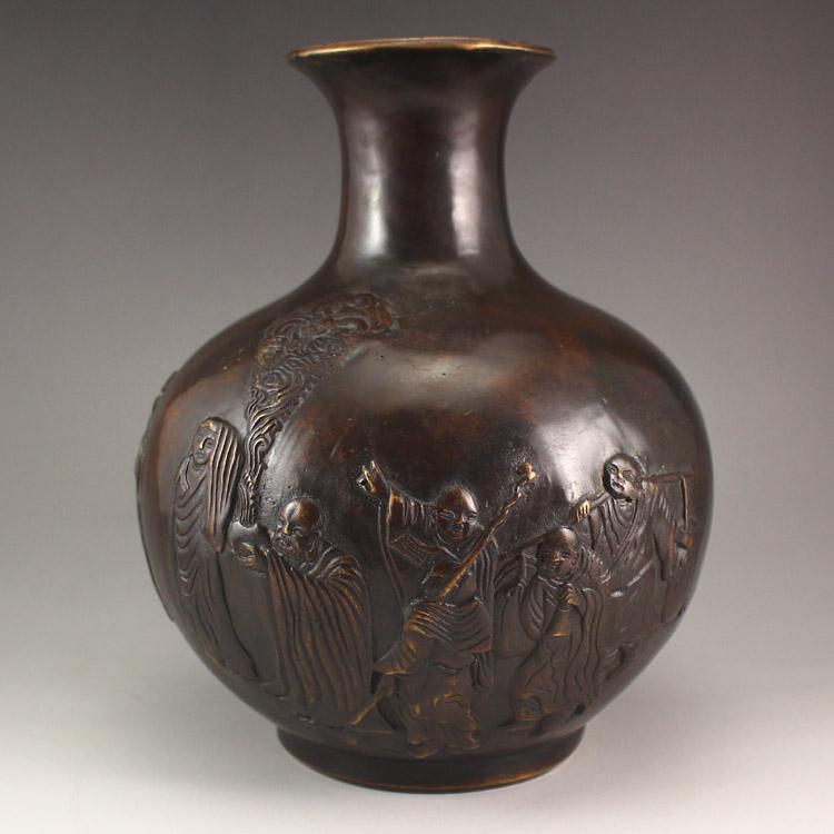 Chinese Bronze Buddhism Arhat Vase