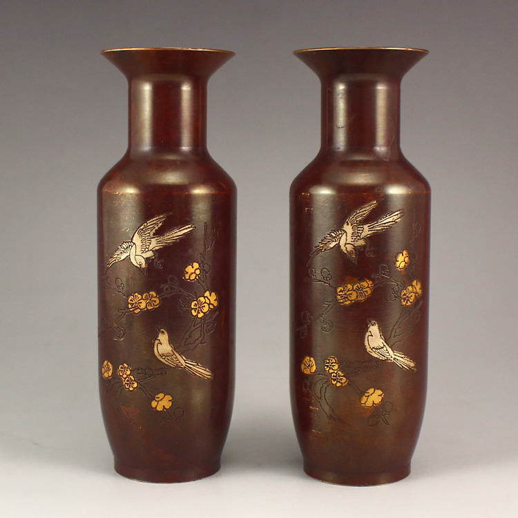 A Pair Chinese Bronze Vase w Magpie & Plum Flower