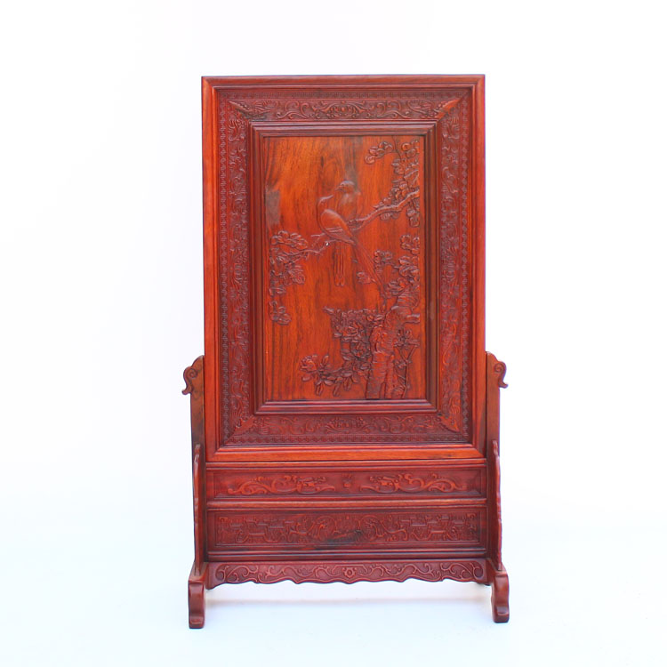 Chinese Rosewood Wood Screen w Magpie & Peony