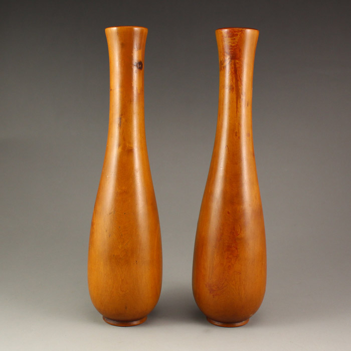 A Pair Chinese Boxwood Wood Vase