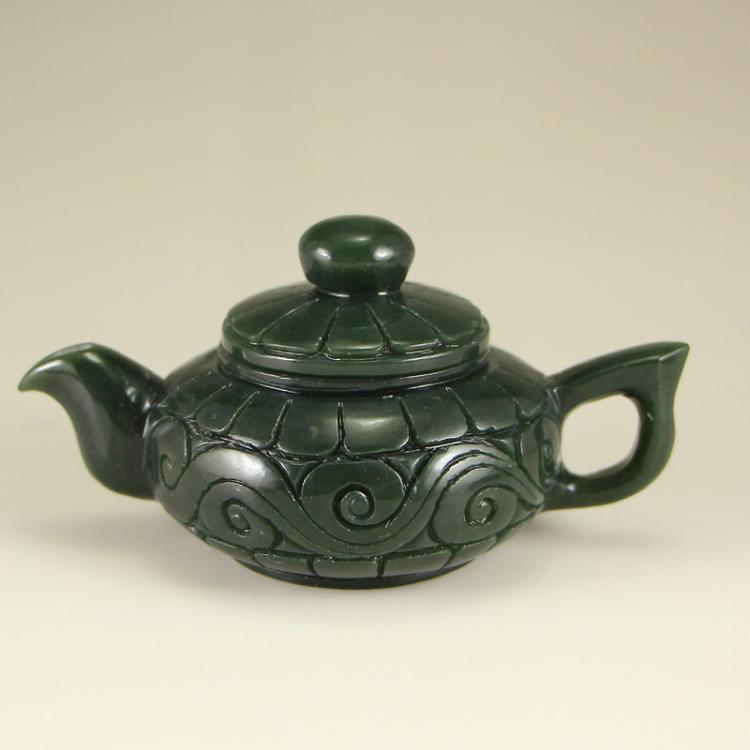 Chinese Green Hetian Jade Teapot