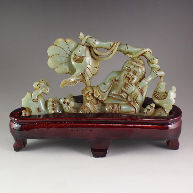 Vintage Chinese Hetian Jade Statue - Fisherman