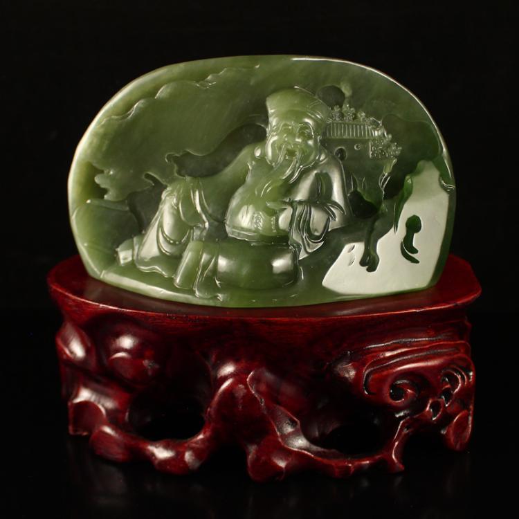 Chinese Green Hetian Jade Statue - Fortune Taoism Deity