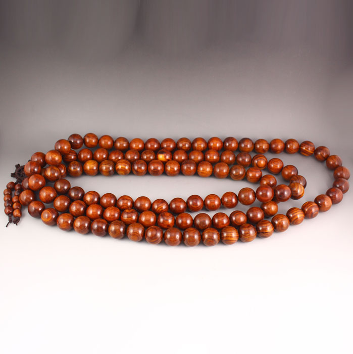 Chinese Huali Wood 108 Buddhism Prayer Beads Necklace