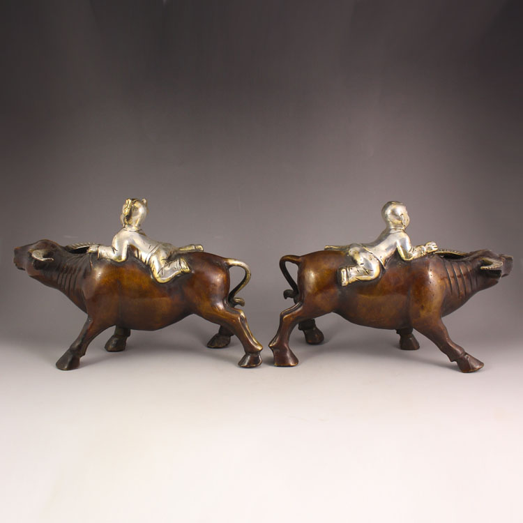 A Pair Chinese Bronze Statue - Shepherd Boy & Oxen