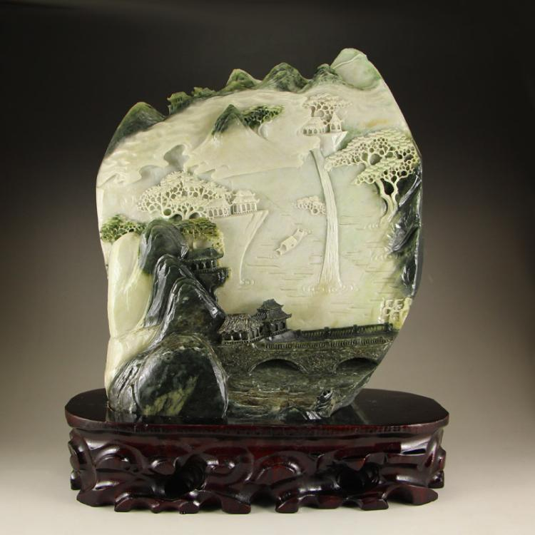 Chinese Dushan Jade Statue - Mountain River Scenery