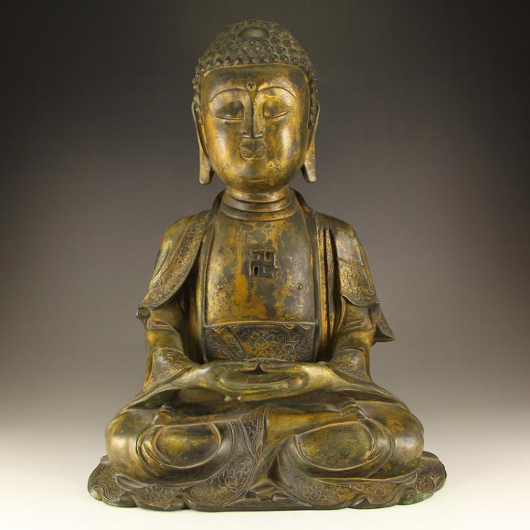 6 Kg Vintage Chinese Gilt Gold Bronze Siddhartha Buddha Statue