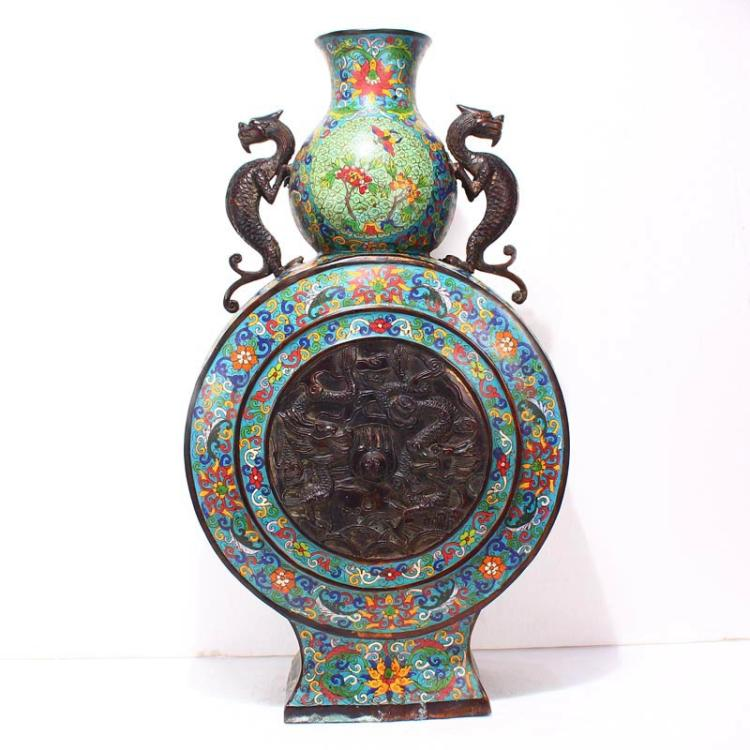 Chinese Qing Dynasty Bronze Cloisonne Double Ears Big Vase - Chi Dargons
