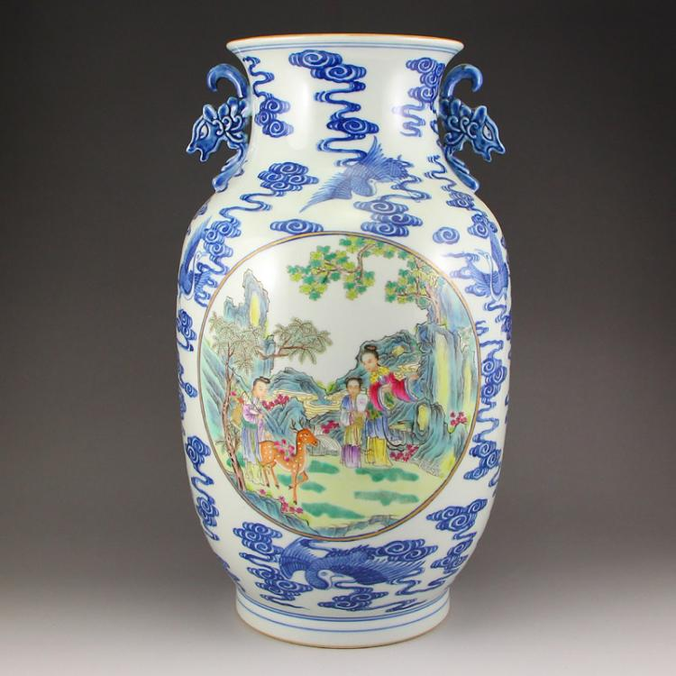 Chinese Qing Dynasty Gilt Edges Famille Rose + Blue And White Porcelain Double Ears Vase w Qianlong Mark